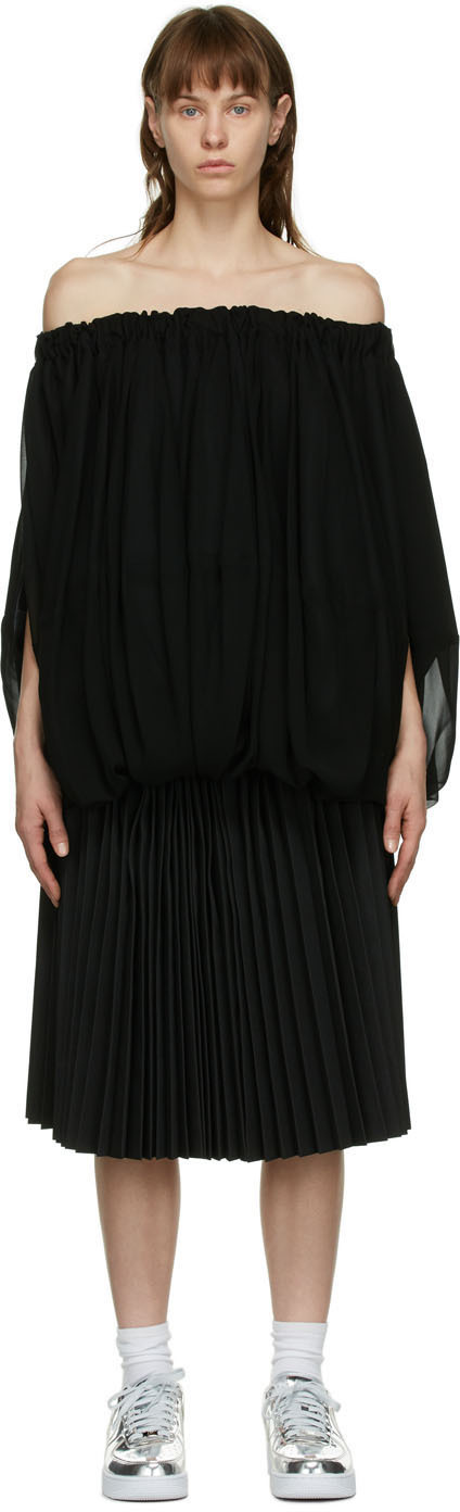 Black Pleated Layered Dress