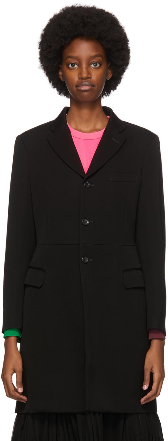 Black Wool Vented Coat