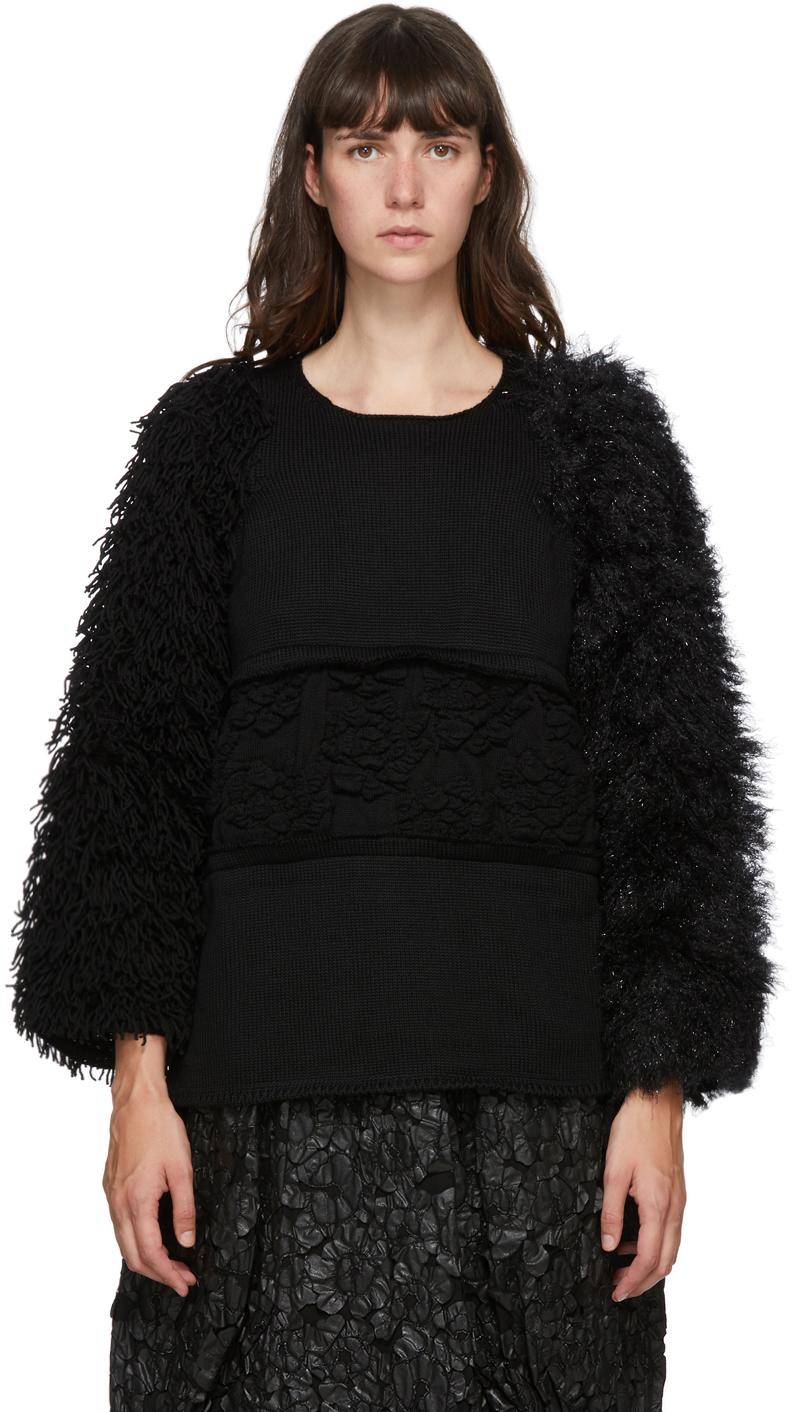 Black Wool Multi-Material Sweater