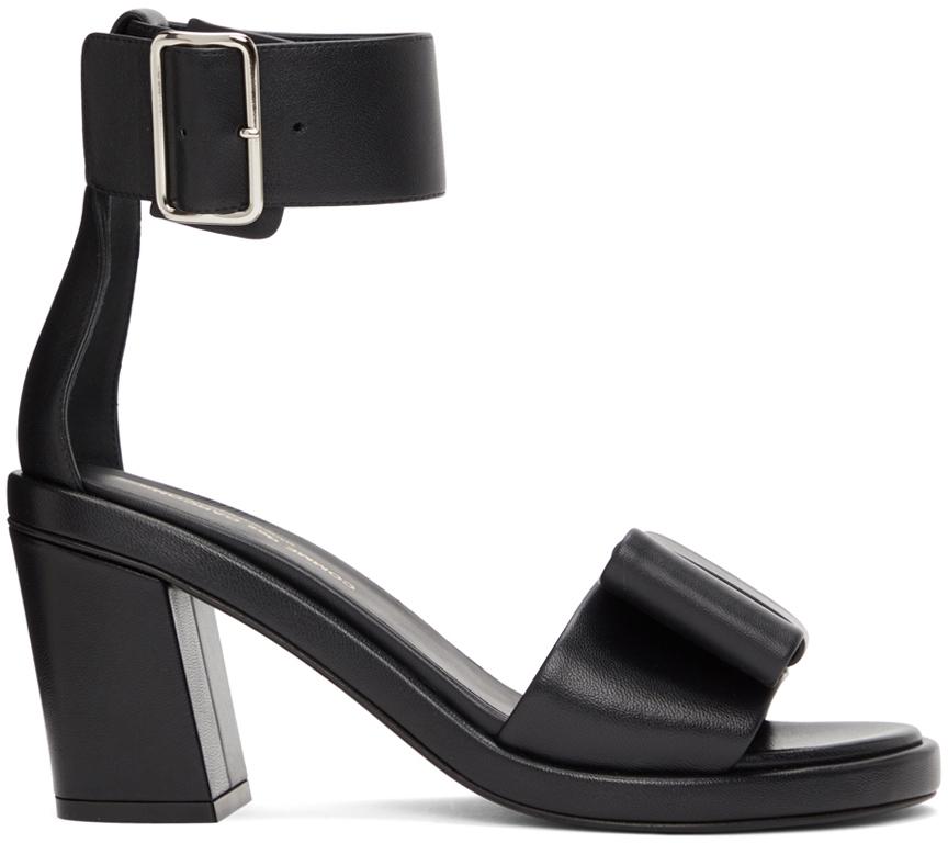 Black Bow Heeled Sandals
