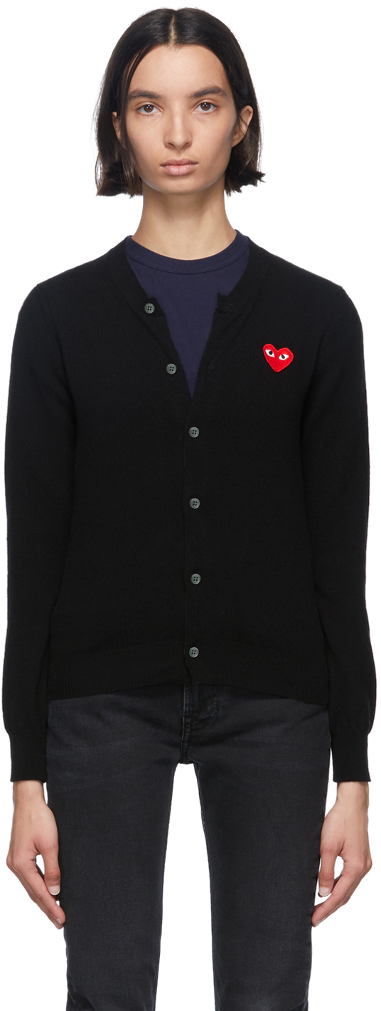 Black & Red Heart Patch Cardigan