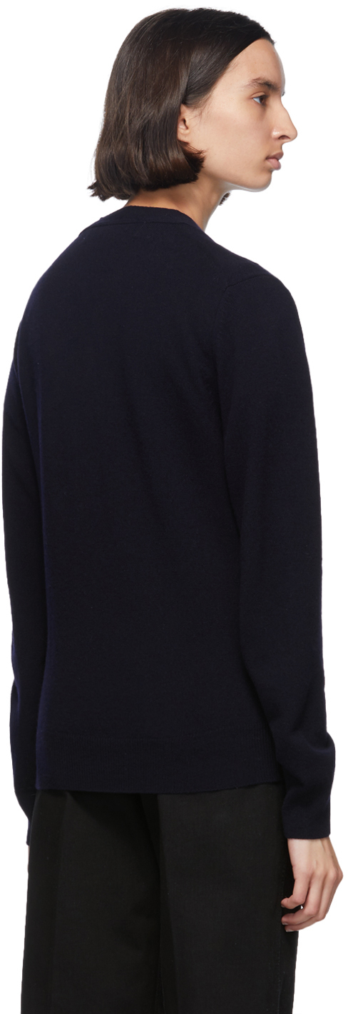 Navy & Red Wool Men's Fit Heart Patch V Neck Cardigan