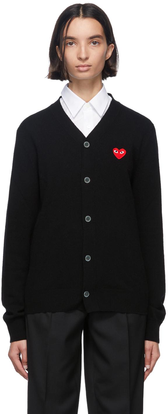 Black & Red Wool Men's Fit Heart Patch V-Neck Cardigan