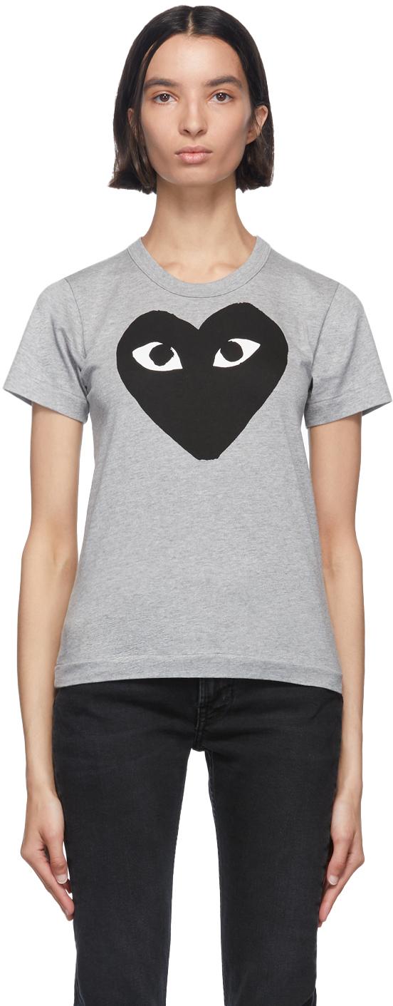Grey & Black Big Heart T-Shirt