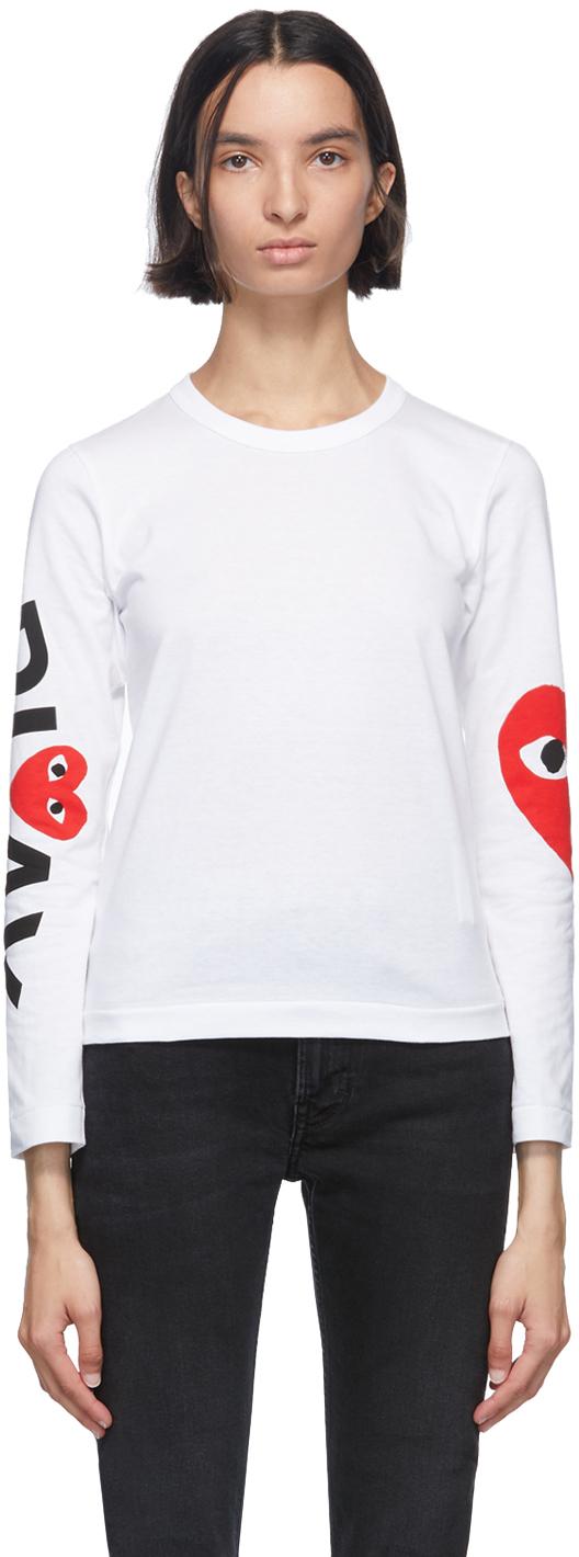 White Big Heart Long Sleeve T-Shirt