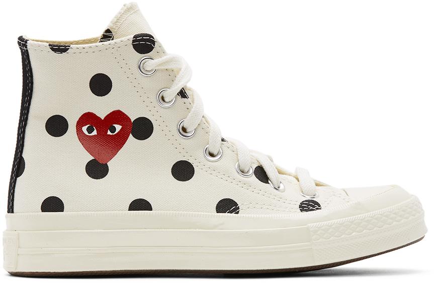White Converse Edition Polka Dot Heart Chuck 70 High Sneakers