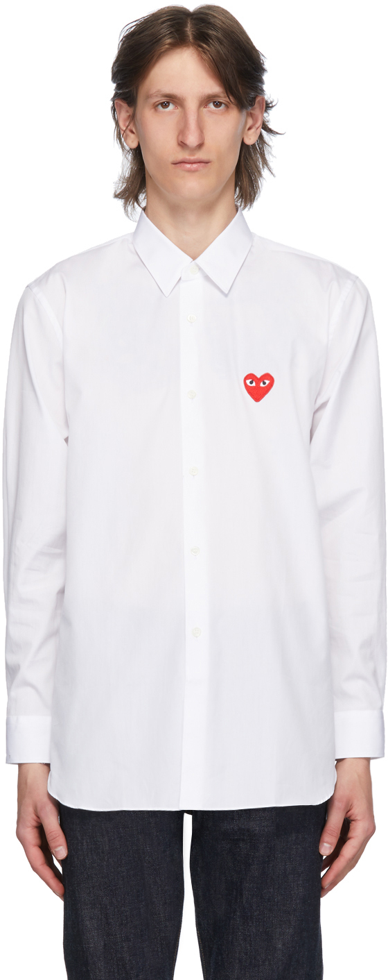 White & Red Heart Patch Shirt