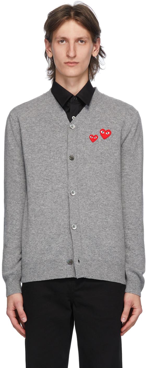 Grey Wool Double Heart Cardigan