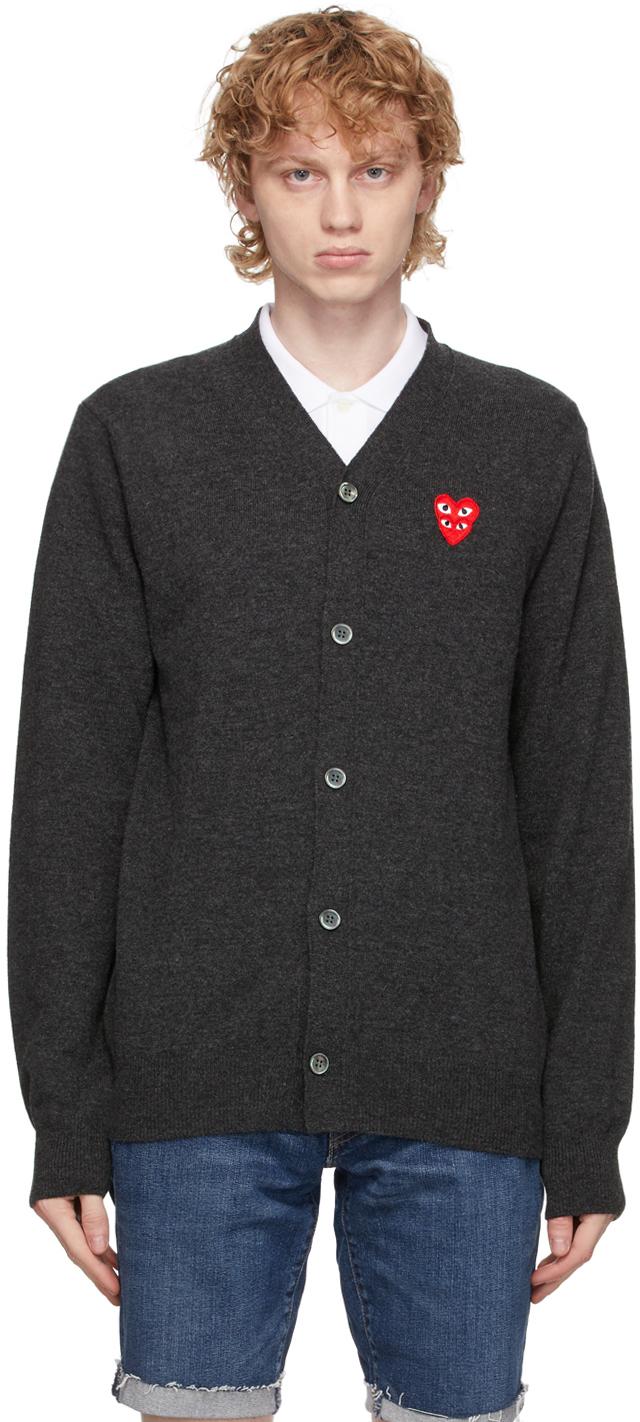 Grey Wool Double Heart V-Neck Cardigan