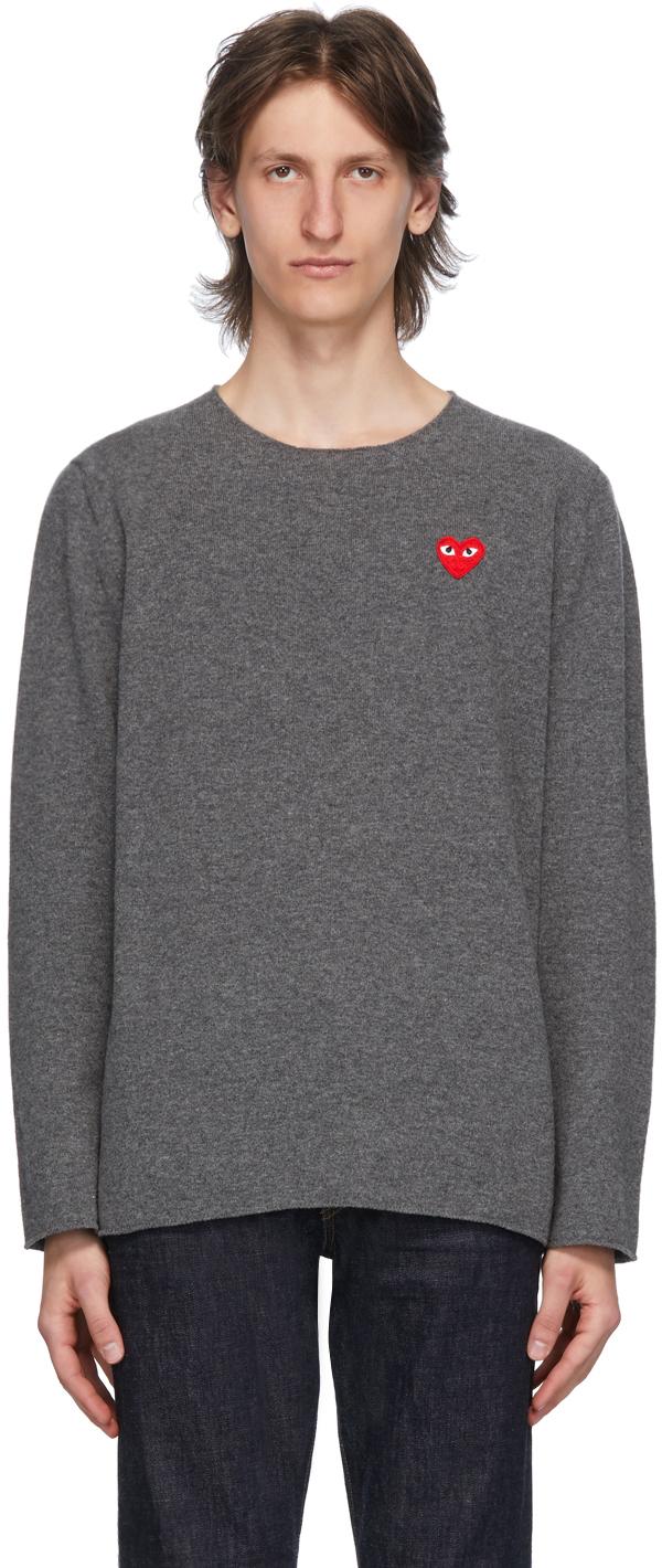 Grey Heart Patch Crewneck Sweater