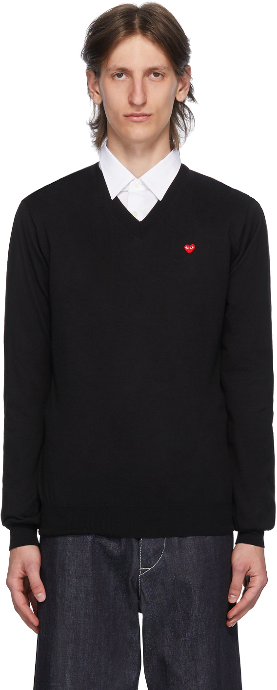 Black & Red Heart Patch V-Neck Sweater
