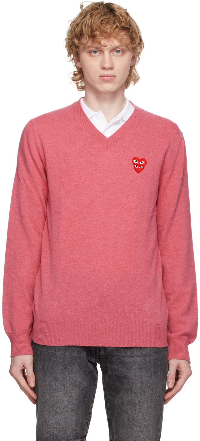 Pink Double Heart V-Neck Sweater