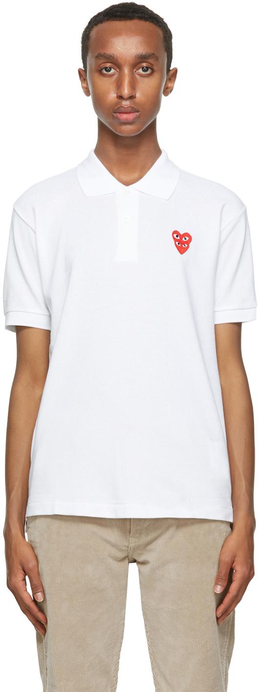 Comme des Garçons Play ホワイト ダブル ハート ポロシャツ
