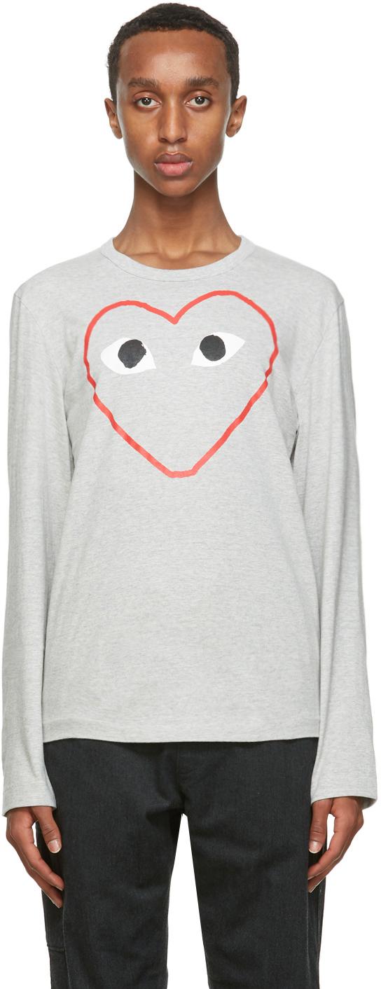 Grey Big Heart Long Sleeve T-Shirt