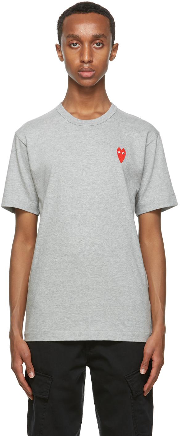 Grey Long Heart T-Shirt