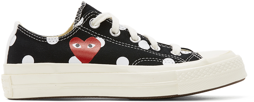 Black Converse Edition Polka Dot Heart Chuck 70 Low Sneakers