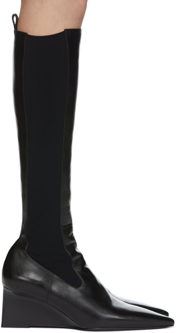 Jil Sander 黑色 Western 高筒靴