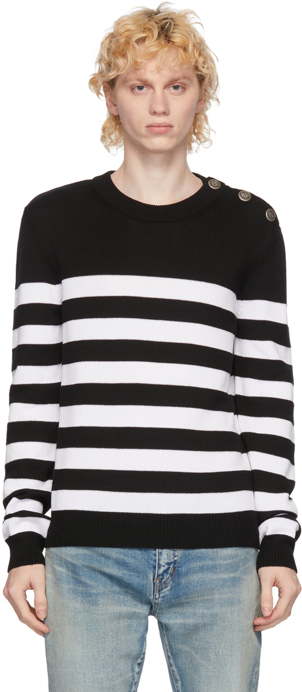 White & Black Wool Nautical Sweater