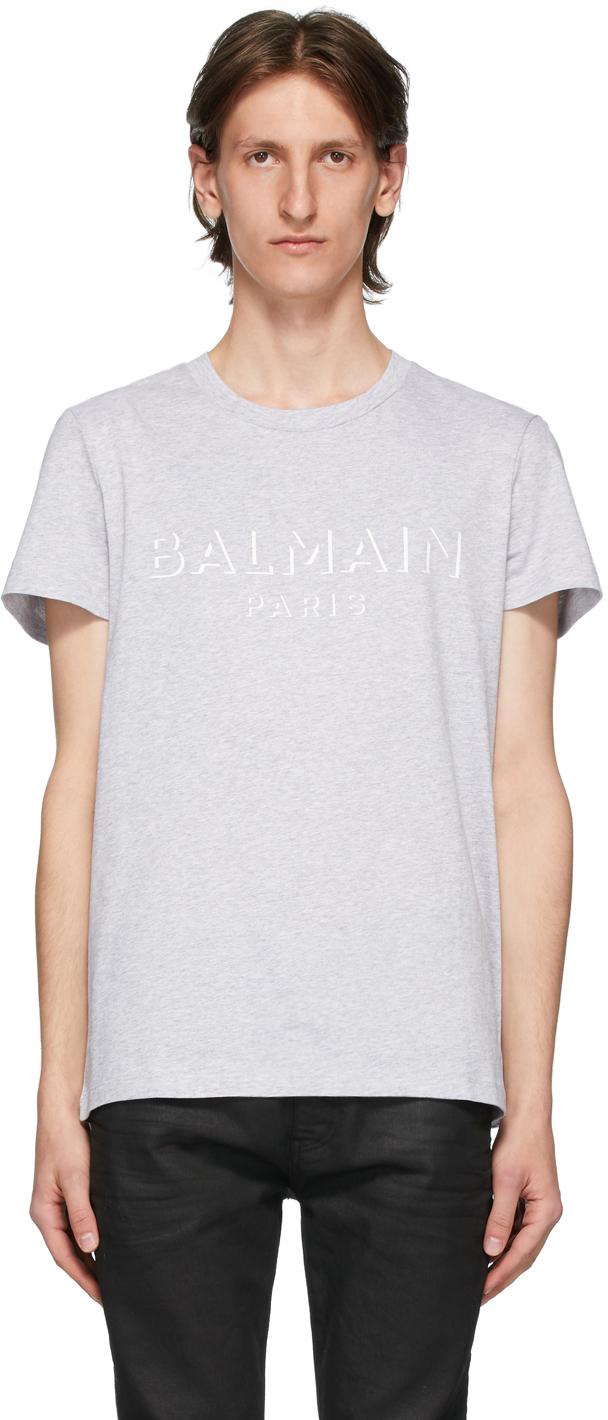 Balmain 灰色 3D Logo T 恤