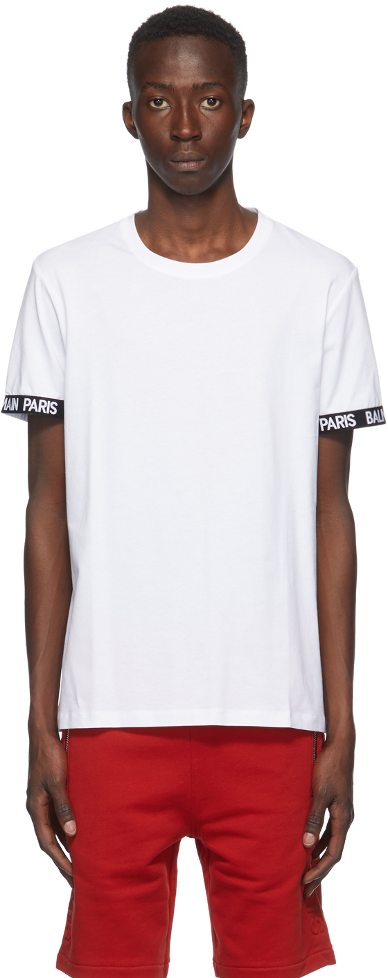 Balmain 白色徽标 T 恤