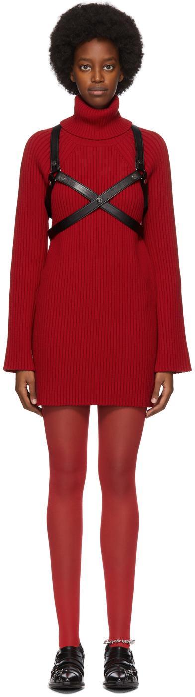 Red Harness Turtleneck Dress