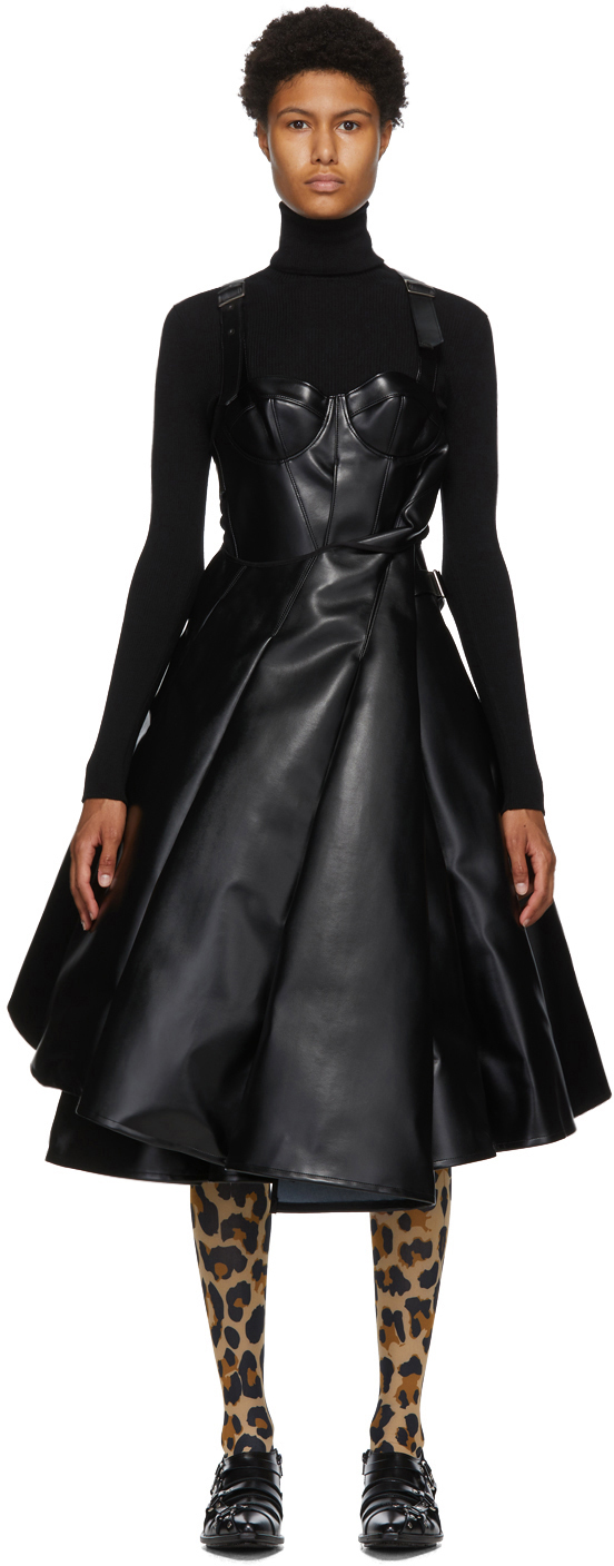 Black & White Faux-Leather Tulle Dress