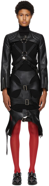 Black Faux-Leather Harness Long Dress