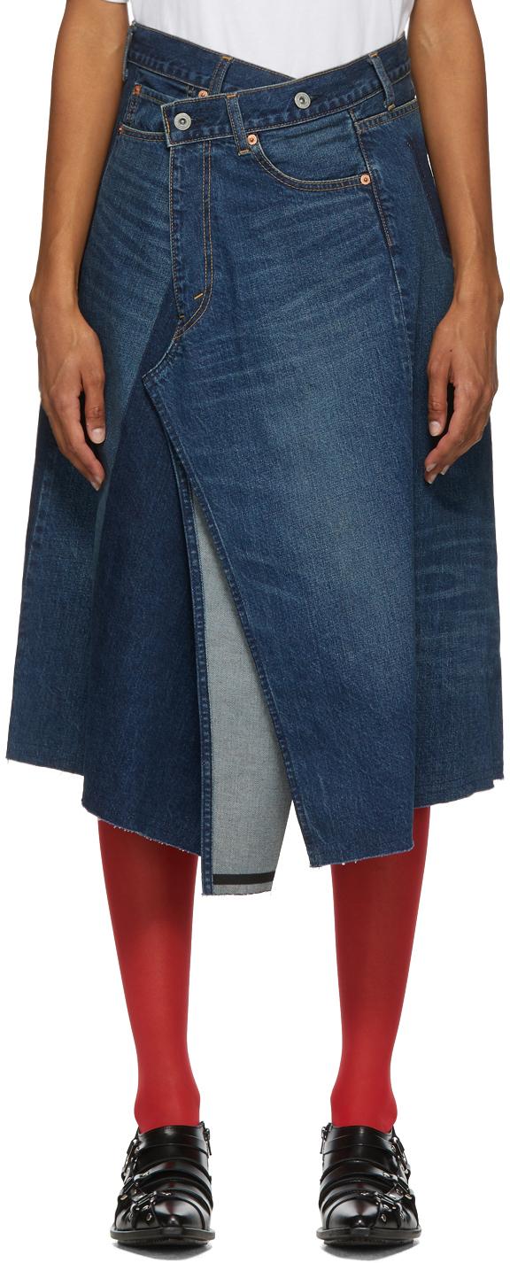 Blue Denim Asymmetric Skirt