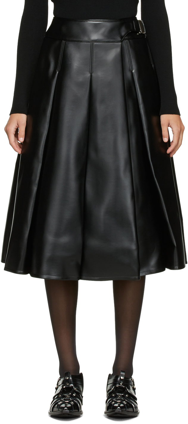 Black Faux-Leather Pleated Skirt