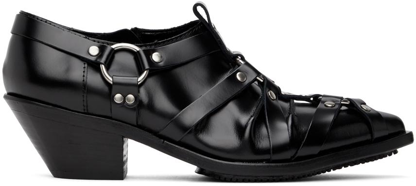 Black Harness Low Heels