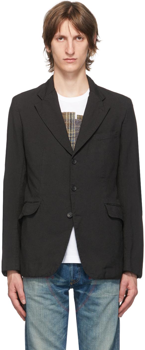 Black Gabardine Garment-Dyed Blazer