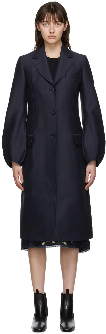 Navy Wool Balloon Sleeve Coat