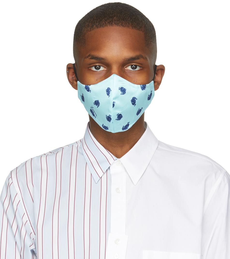 Lanvin 两件装蓝色 & 黑色印花真丝口罩