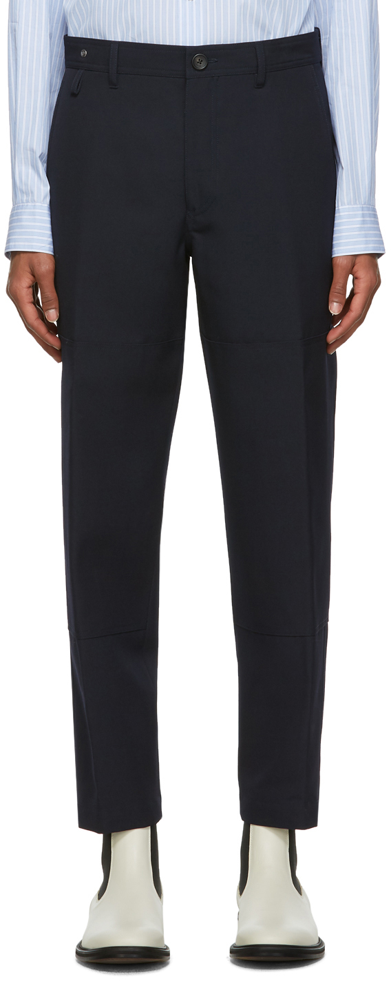 Navy Wool Patch Chino Trousers
