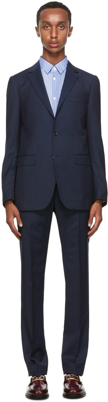 Navy Wool Half-Canvas Suit