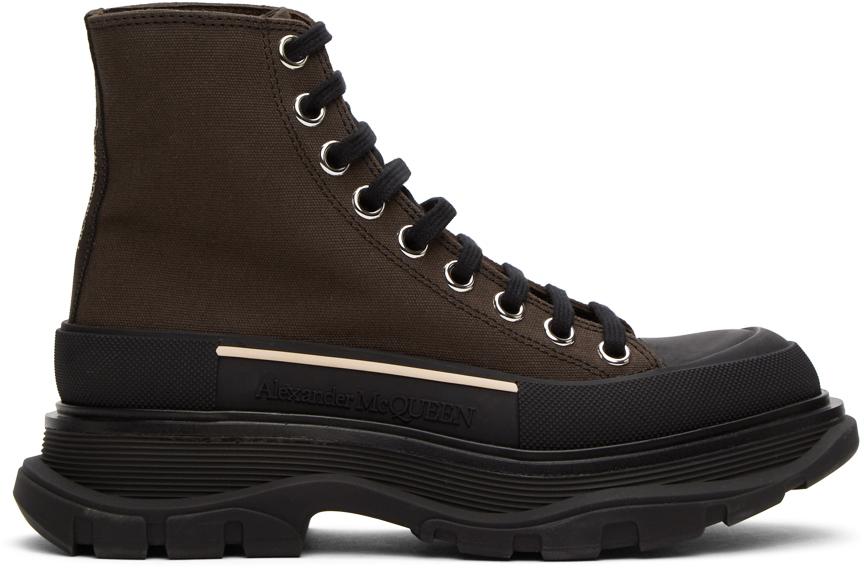 Alexander McQueen Brown Tread Slick Platform High Sneakers