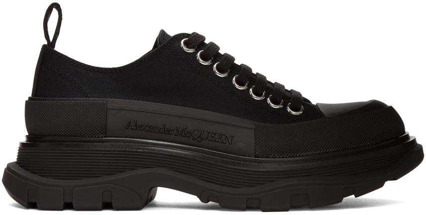 Alexander McQueen Black Canvas Tread Slick Platform Low Sneakers