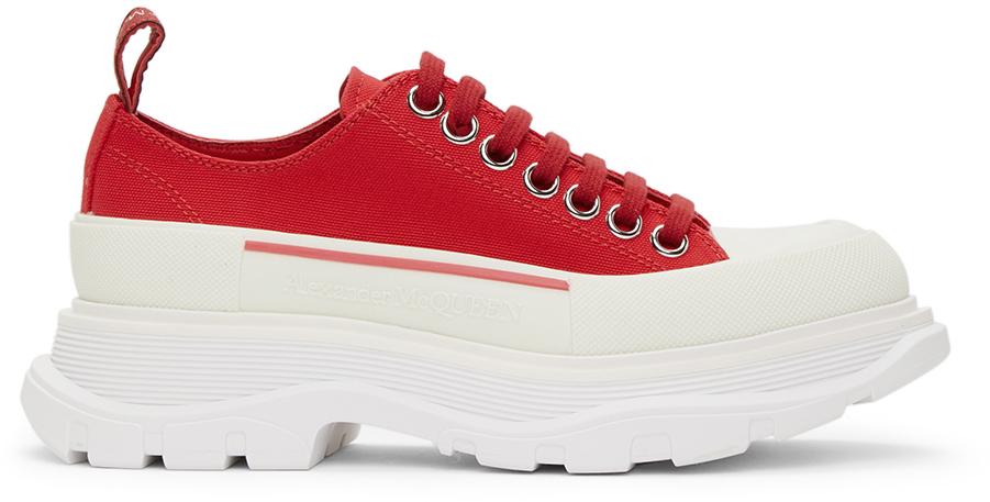 Alexander McQueen Red Tread Slick Platform Low Sneakers