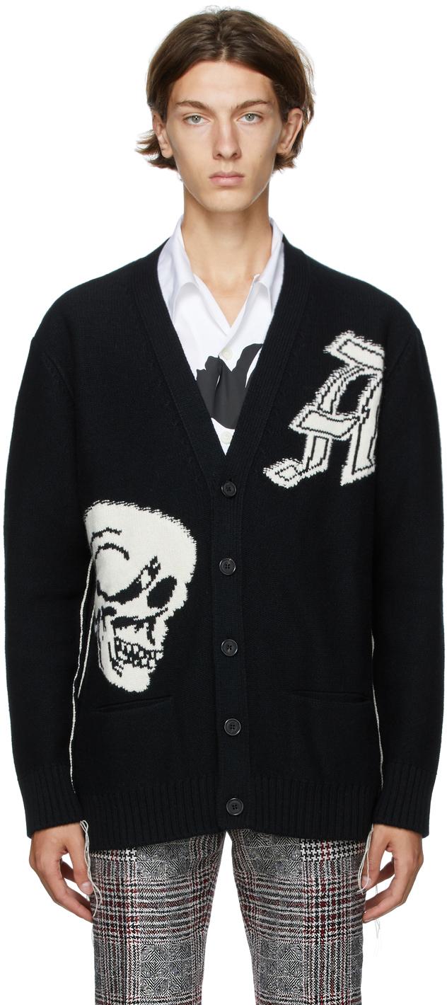 Alexander McQueen 黑色 & 白色 Intarsia Gothic Skull 羊毛开衫