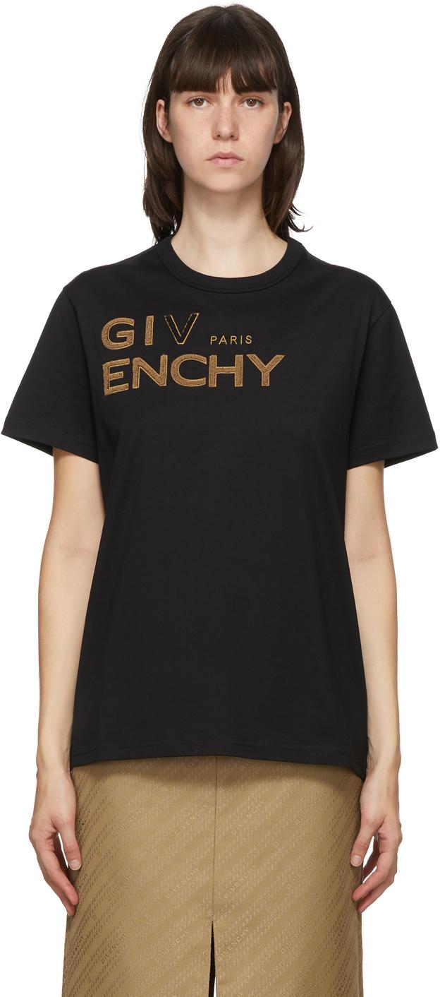 Givenchy ブラック エンブロイダリー ロゴ T シャツ