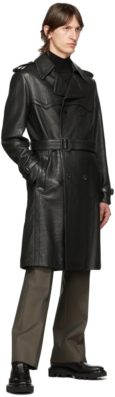 Givenchy ブラック レザー ベルト トレンチ コート