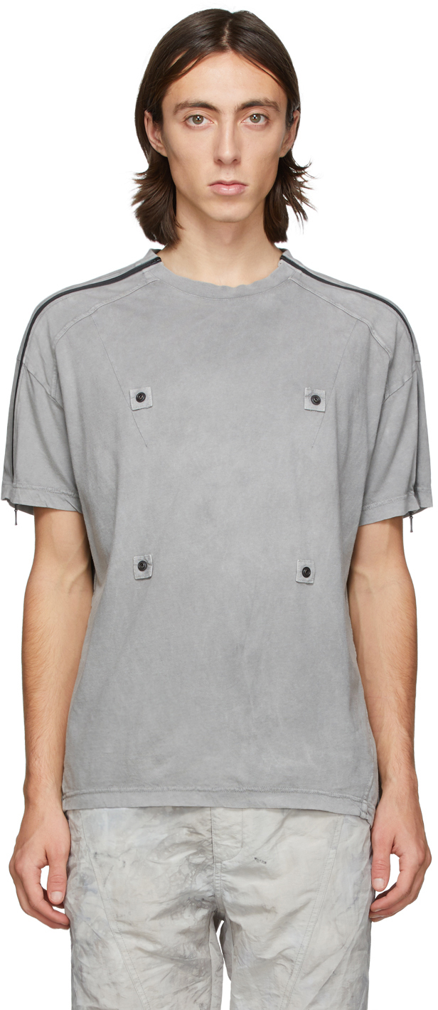Grey Zippered Sleeves T-Shirt