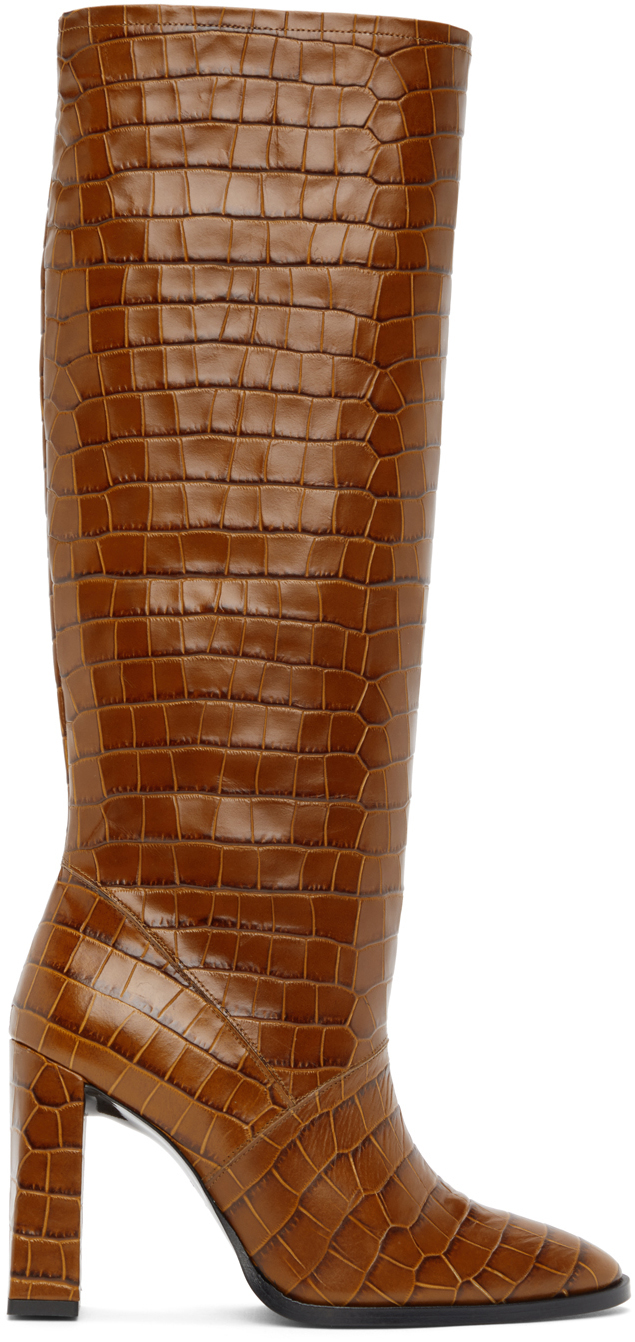 BY FAR 黄褐色 Camilla 鳄鱼纹高跟高筒靴