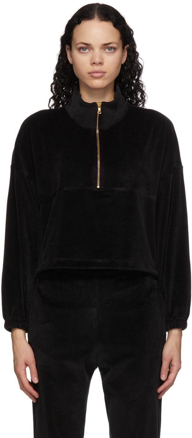 Black Velour Diana Half-Zip Sweatshirt