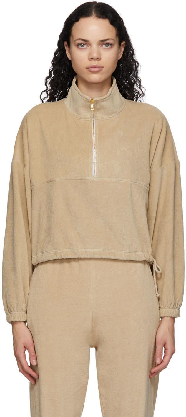 Tan Velour Diana Half-Zip Sweatshirt