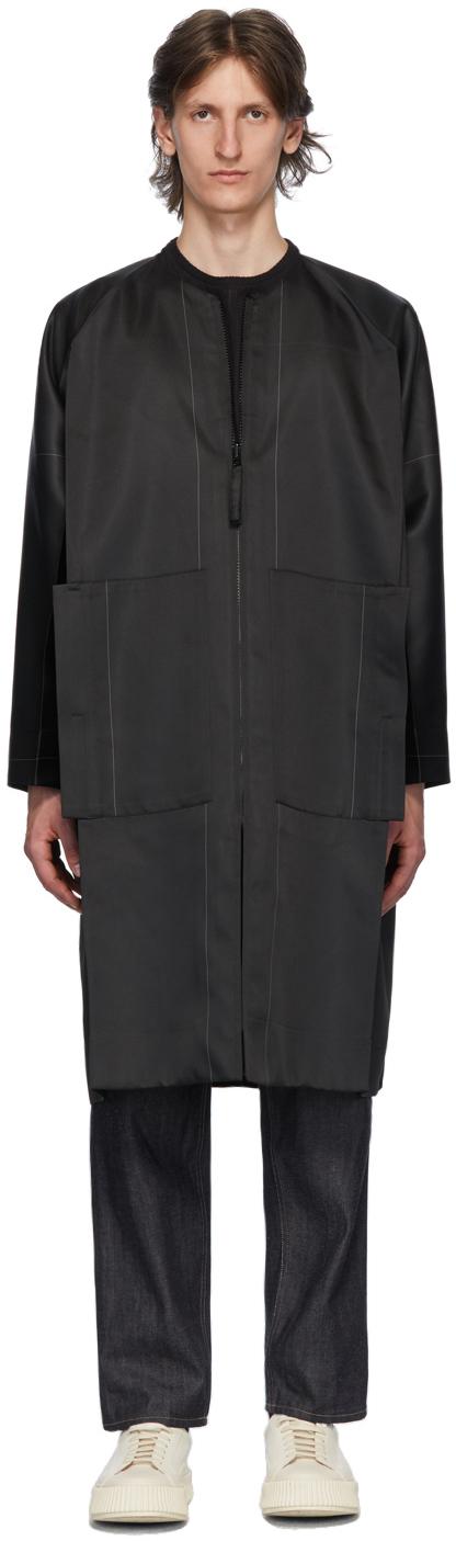 132 5 ISSEY MIYAKE Black Grey Stitched Flat Coat 202302M176002