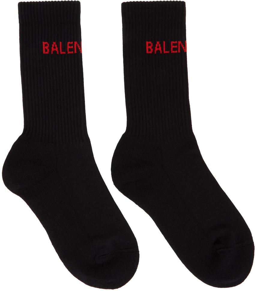 Black Logo Tennis Socks