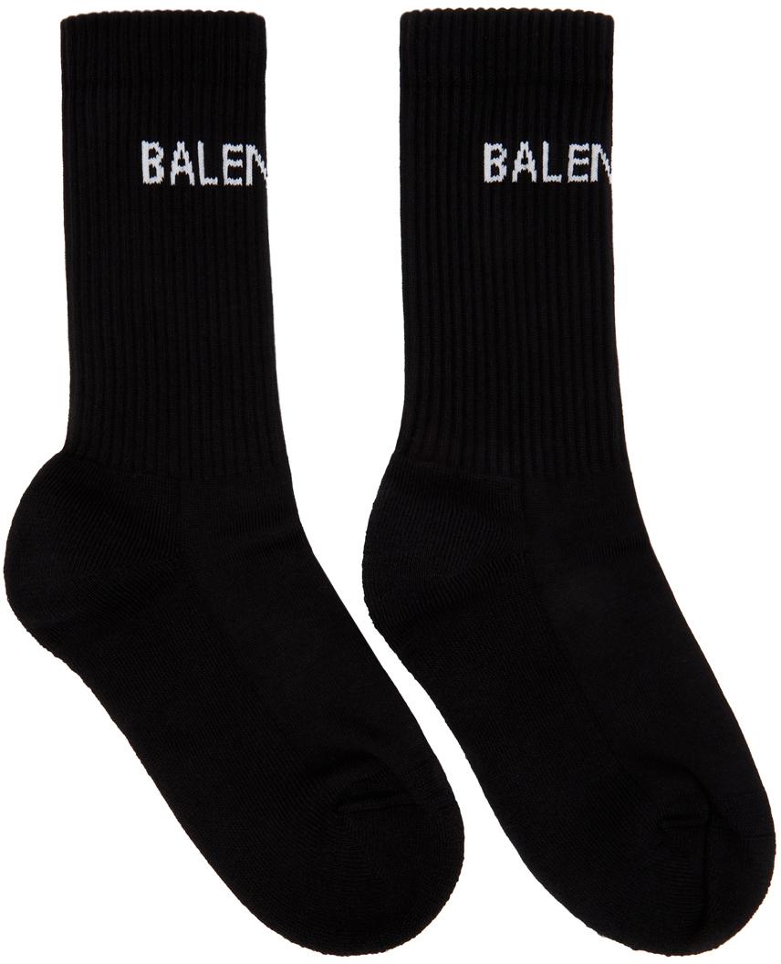 Balenciaga: Black Logo Tennis Socks