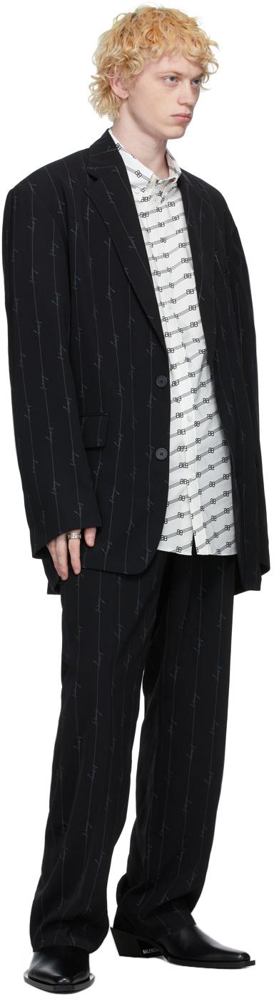 Balenciaga ブラック ストライプ シグネチャ ロゴ ブレザー