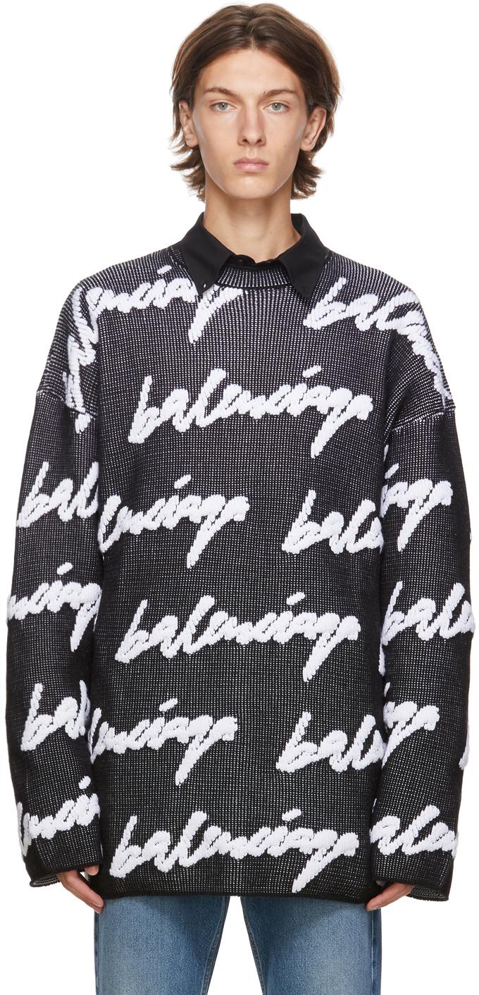 Balenciaga 黑色 & 白色 3D Scribble Logo 针织衫